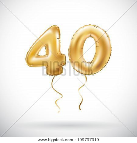 Vector Golden Number 40 Forty Metallic Balloon. Party Decoration Golden Balloons. Anniversary Sign F
