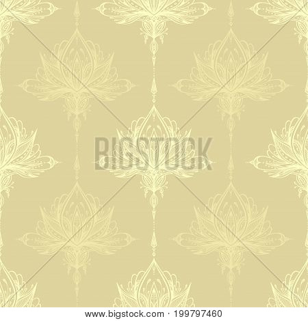 Abstract seamless pattern by decorative element style in light beige for textile or perfume or for decorate gift paper or  wallpaper or for package