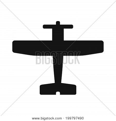 Airplane with propeller simple black icon, top view silhouette vector illustration isolated on white background