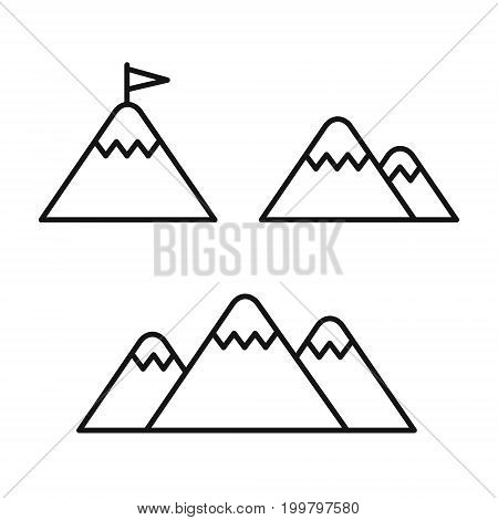 Mountains set line style icons, vector illustration isolated on white background