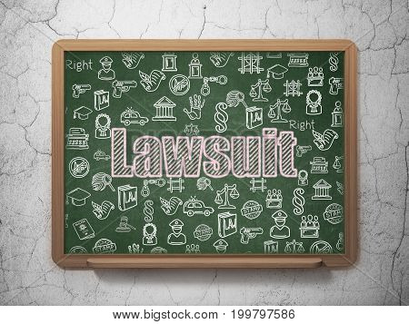 Law concept: Chalk Pink text Lawsuit on School board background with  Hand Drawn Law Icons, 3D Rendering