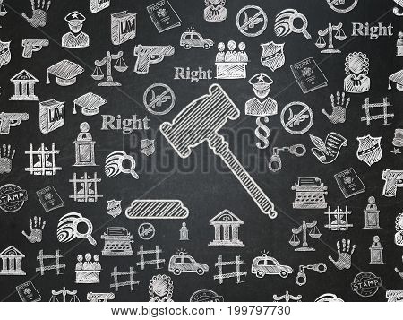 Law concept: Chalk White Gavel icon on School board background with  Hand Drawn Law Icons, School Board