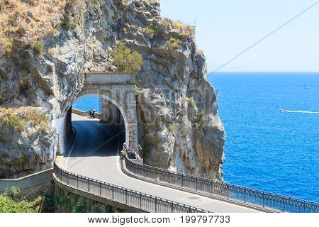 famous picturesque road of Amalfi coast, Italy