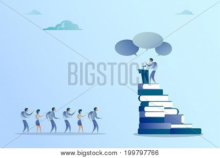 Business Man Leading Tribune Speech In Front Of Businesspeople Group Conference Meeting Seminar Flat Vector Illustration