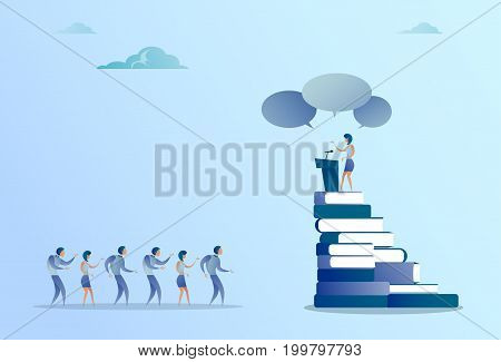 Business Woman Leading Tribune Speech In Front Of Businesspeople Group Conference Meeting Seminar Flat Vector Illustration