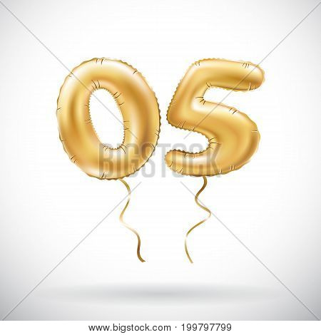 Vector Golden Number 05 Zero Five Metallic Balloon. Party Decoration Golden Balloons. Anniversary Si