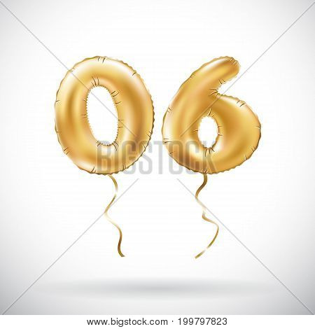 Vector Golden Number 06 Zero Six Metallic Balloon. Party Decoration Golden Balloons. Anniversary Sig
