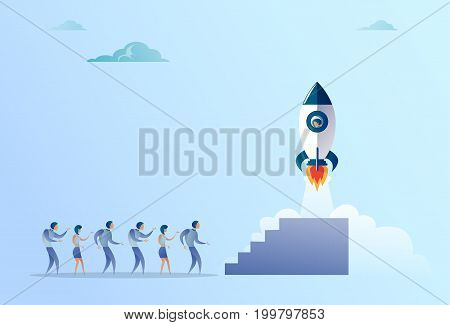 Business People Group Looking At Launching Space Ship New Stratup Strategy Development Concept Flat Vector Illustration