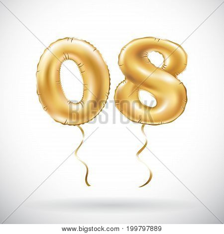 Vector Golden Number 0 8 Zero Eight Balloon. Party Decoration Golden Balloons. Anniversary Sign For