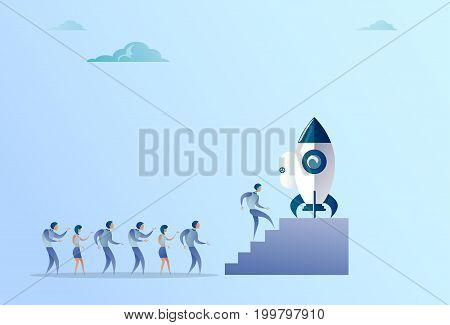 Business People Group Sitting In Launching Space Ship New Stratup Strategy Development Concept Flat Vector Illustration