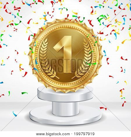 Number One Concept Vector. Metal Realistic First Placement Achievement. Round Medal With Red Ribbon, Relief Detail Illustration. White Winner Pedestal.