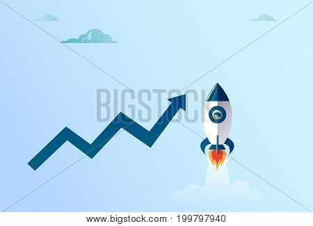 Arrow Up Finance Growth And Flying Space Ship New Stratup Strategy Development Success Concept Flat Vector Illustration