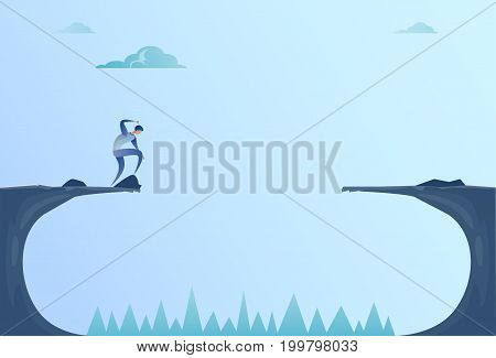 Business Man Standing On Edge Of Cliff Gap Problem Finance Bankruptcy Concept Flat Vector Illustration
