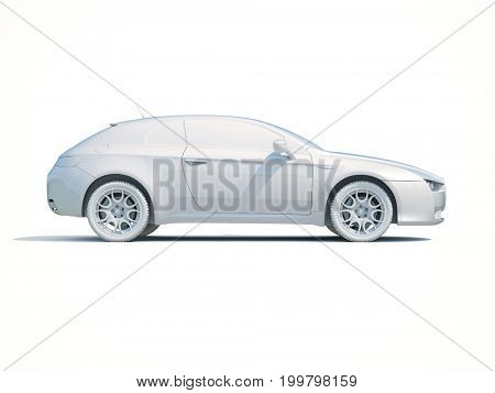 3d Render: Toy Car White Icon, Automobile Service Sign