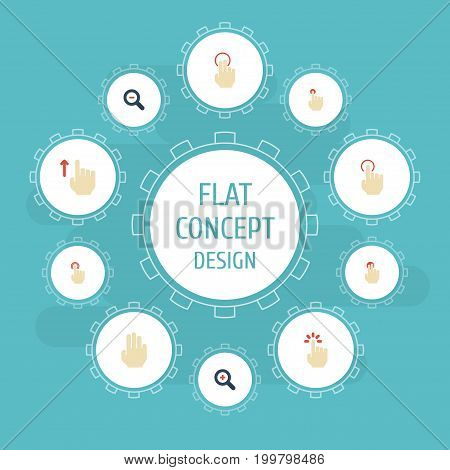 Flat Icons Magnifier, Hold, Press And Other Vector Elements