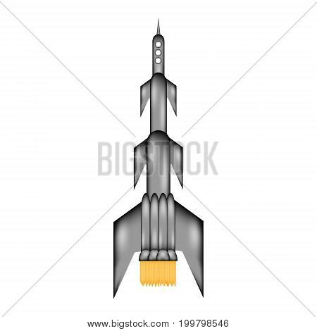 Starting rocket sign icon on white background. Vector illustration.