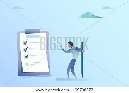 Confused Business Man Standing Looking At Check List Think Problem Solution Flat Vector Illustration