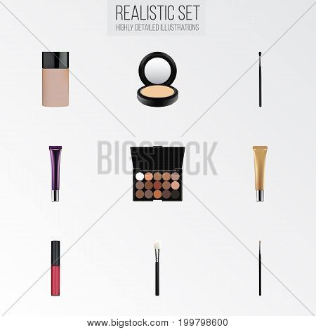 Realistic Liquid Lipstick, Day Creme, Concealer And Other Vector Elements