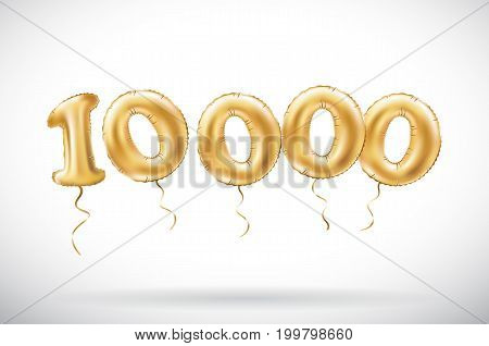 Vector Golden Number 10000 Ten Thousand Metallic Balloon. Party Decoration Golden Balloons. Annivers