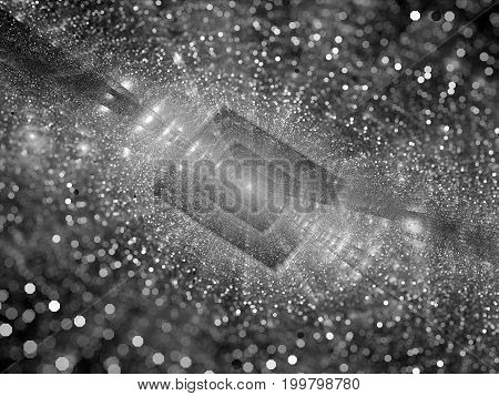 Cloud computing texture black and white depth of field computer generated abstract background 3D rendering