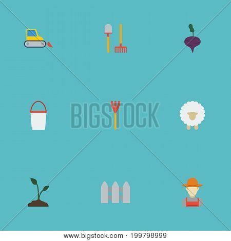 Flat Icons Cultivator, Lamb, Wooden Barrier And Other Vector Elements