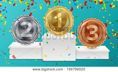 Winner Pedestal With Gold, Silver, Bronze Medals Vector. White Winners Podium. Number One. 1st, 2nd, 3rd Placement Achievement Concept. Isolated Illustration.