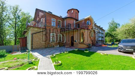 VITEBSK BELARUS - MAY 23 2017: Building of XIX century along Putna Street (part of architectural ensemble of former Intercession Church) Vitebsk Belarus