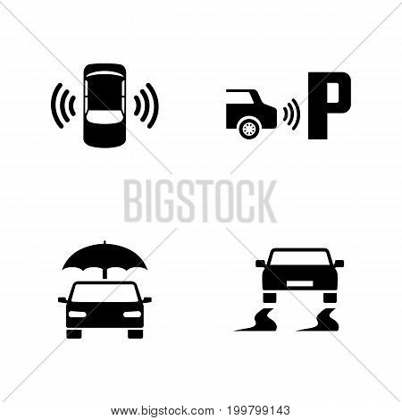 Car Safety. Simple Related Vector Icons Set for Video, Mobile Apps, Web Sites, Print Projects and Your Design. Black Flat Illustration on White Background.