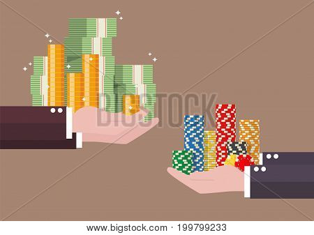 Exchange of cash money and casino chips. Vector illustration