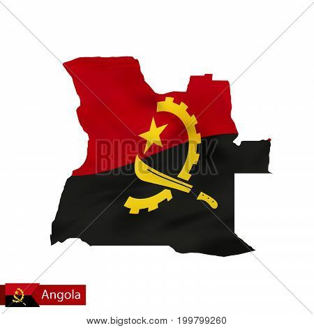 Angola Map With Waving Flag Of Country.