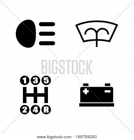 Car Parts. Simple Related Vector Icons Set for Video, Mobile Apps, Web Sites, Print Projects and Your Design. Black Flat Illustration on White Background.