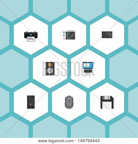 Flat Icons Amplifier, Laptop, Monitor And Other Vector Elements