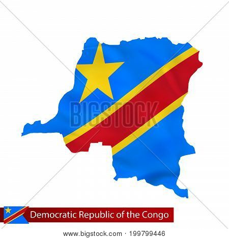 Dr Congo Map With Waving Flag Of Country.