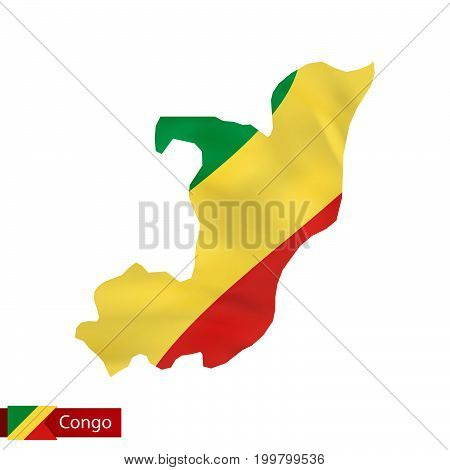 Congo Map With Waving Flag Of Country.