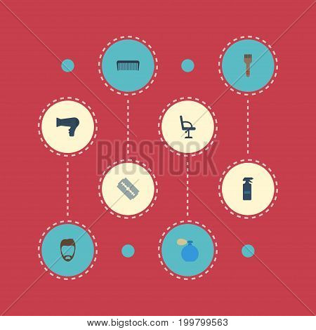 Flat Icons Elbow Chair, Comb, Bristle And Other Vector Elements