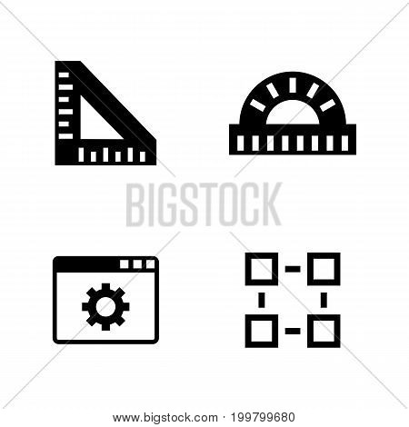 Engineering Instruments. Simple Related Vector Icons Set for Video, Mobile Apps, Web Sites, Print Projects and Your Design. Black Flat Illustration on White Background.