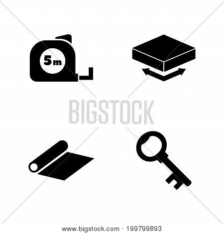 Engineering Tools. Simple Related Vector Icons Set for Video, Mobile Apps, Web Sites, Print Projects and Your Design. Black Flat Illustration on White Background.