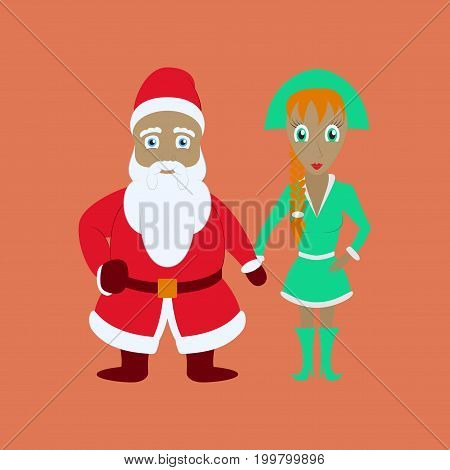 flat illustration of Santa Claus and girl