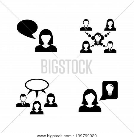 Communication. Simple Related Vector Icons Set for Video, Mobile Apps, Web Sites, Print Projects and Your Design. Black Flat Illustration on White Background.