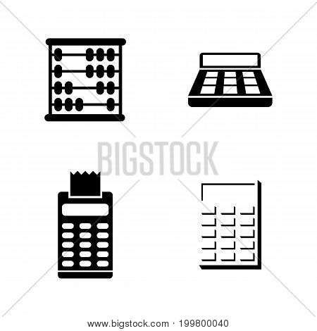 Calculation. Simple Related Vector Icons Set for Video, Mobile Apps, Web Sites, Print Projects and Your Design. Black Flat Illustration on White Background.