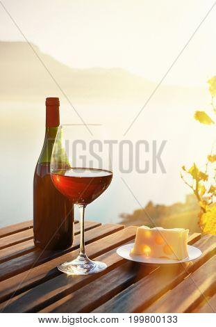 Wine and cheese. Lavaux region at Geneva lake, Switzerland