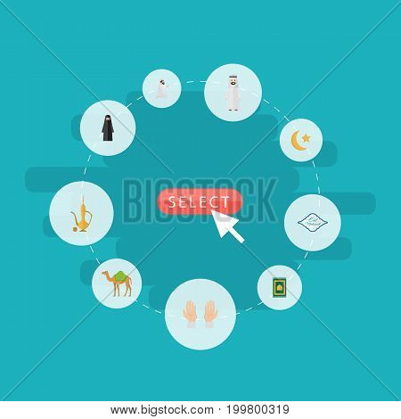 Flat Icons Pitcher, Dromedary, Praying Man And Other Vector Elements