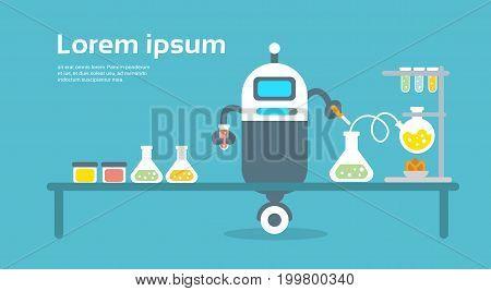 Modern Robot Scientist Artificial Intelligence Technology Concept Flat Vector Illustration