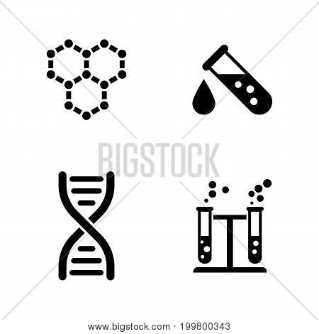 Research. Simple Related Vector Icons Set for Video, Mobile Apps, Web Sites, Print Projects and Your Design. Black Flat Illustration on White Background.