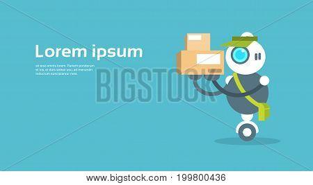 Modern Robot Courier Artificial Intelligence Technology Concept Flat Vector Illustration