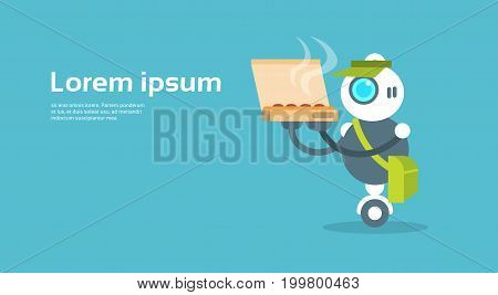 Modern Robot Food Delivery Courier Artificial Intelligence Technology Concept Flat Vector Illustration