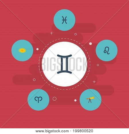 Flat Icons Twins, Ram, Optics And Other Vector Elements