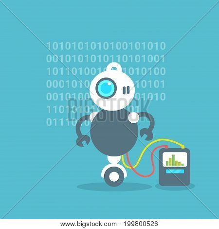 Modern Robot Battery Charge Message Artificial Intelligence Technology Concept Flat Vector Illustration