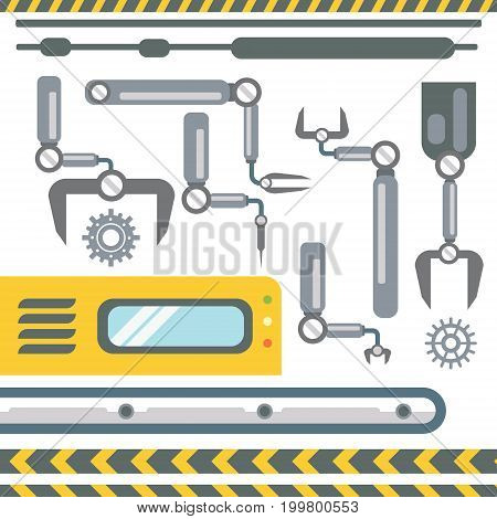Robotic Hands Automatic Assembly Machinery Collection Industrial Automation Industry Production Flat Vector Illustration