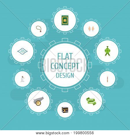 Flat Icons Prayer Carpet, Artillery, Palm And Other Vector Elements